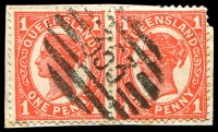 Lot 1542:353: BN on 1d 4-Corners pair.  Allocated to Ayr-PO 25/8/1883.