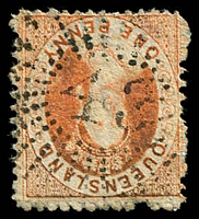 Lot 1516:43: '43' rays on 1d Chalon. [Rated 2R]  Allocated to Sandgate-PO 9/4/1863.