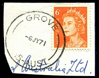 Lot 1777:Grove (2): - 'GROVE/6JY71/TAS-AUST' on 6c orange QEII. [Rated R]  PO 4/4/1907.