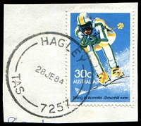 Lot 1396:Hagley: - 'HAGLEY/28JE84/TAS-7257' (old postcode) on 30c Skiing.  PO 10/6/1856.