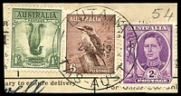 Lot 1785:Lutana: - 'LUTANA/23NO49/TAS-AUST', on 2d purple KGVI, 6d Kookaburra & 1/- Lyrebird on telegraph piece. [Rated 3R]  PO 1/9/1948; closed 30/9/1955.