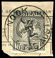 Lot 2084:Nook: - 'NOOK/■MR40/TAS.AUST.' (date error for 1950?) on 1/6d Hermes on telegram piece. [Rated 2R]  PO 1/1/1878; closed 31/10/1953.