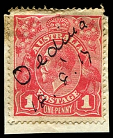"Lot 1836:Oldina: mss ""Oldina/18.8.17"" on 1d red KGV.  RO 1/5/1910; PO 1/1/1920; TO 8/6/1971; closed 30/9/1974."