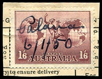 "Lot 9427:Palana: mss ""Palana/6/1/50"" on 1/6d Air Mail. on telegram piece.  TO 18/6/1916; closed c.1976."