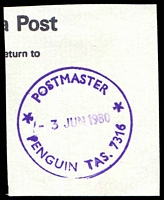 Lot 11237:Penguin: - '* POSTMASTER */3JUN1980/PENGUIN TAS. 7316' in violet on piece.  Renamed from Penguin Creek PO 1/7/1895.