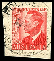 Lot 10561:Police Point (2): 'POLICE POINT/■8MY50/TAS-AUST' on 2½d red KGVI. [Rated 3R]  TO 1/12/1928; PO 19/11/1936; closed 30/9/1954.