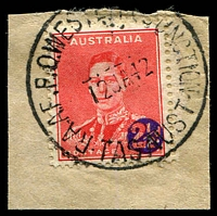 Lot 2164:Western Junction R.A.A.F. P.O.: - 'R.A.A.F.P.O. WESTERN JUNCTION/12JA42/TAS·AUST' on 2d red KGVI Overprint. [Rated 3R]  PO 14/10/1940; closed 31/5/1945.