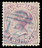 Lot 1885:125: right half 1st duplex in blue on 2d violet.  Allocated to Kew-PO 6/10/1856.