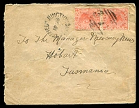 Lot 12287 [1 of 2]:379: '379' 3rd type on 1d pink pair tied by unframed 'LANCEFIELD JUNCTION/AP28/05/VIC' (B2-) on aged Tatts cover.  Allocated to Lancefield Road-PO 1/1/1862; renamed Lancefield Junction PO 1/9/1881; renamed Clarkefield PO 11/1/1926.
