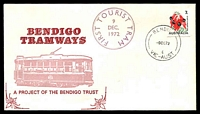 Lot 11688:Bendigo: 'BENDIGO/9DE72/6/VIC-AUST' WWW #560 on 7c Desert Pea on illustrated Bendigo Tramways, First Tourist Tram cover, unaddressed.  Renamed from Sandhurst PO 8/5/1891; replaced by Bendigo Central PO c.-/8/1996.