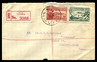 Lot 2531 [1 of 2]:Kew: WWW #140 2 strikes of 'KEW/8JY29/VIC' (arcs 7, 7½) on 1½d Canberra & 3d Air Mail on registered cover (part of flap missing, nibbled along lower edge) with red label, to Tasmania.  PO 6/10/1856.