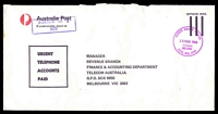 Lot 2758:Kew: - WWW #440 30mm 'MONEY ORDER TELLER/30MAR1984/PHONE/8618181/KEW, VIC. 3101' in magenta on long APO cover.  PO 6/10/1856.