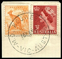 Lot 2542:Koo-Wee-Rup: WWW #210A, 'M.O. KOOWEERUP/15FE58/VIC-AUST' (error; no hyphens) on ½d Roo & 3½d red QEII. [Rated 2R]  PO 7/1/1891; LPO 30/9/1996.