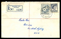 Lot 3145 [1 of 2]:Kooyong: - WWW #10B 'KOOYONG/17OC62/VIC' on 5d blue QEII & 2/- Flower on cover (small tear, tone spots) with blue registration label.  RO 18/3/1912; PO 1/4/1927; LPO 9/6/1994.