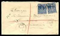 Lot 2547:Korumburra (2): WWW #210 unframed 'M.O.&S.B./OC6/03/KORUMBURRA' alongside 2½d blue x2 cancelled with 'R' in circle, on registered Tatts cover.  PO 1/11/1889; LPO 1/2/1999.