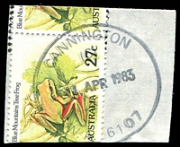 Lot 16704:Cannington: - 'CANNINGTON/(6)/11APR1983/W.A. 6107' #G33r-j-(6) on 27c Frog pair (cut-to-shape through stamps).  Renamed from Canning PO c.1898.