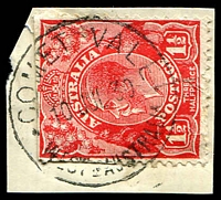 Lot 3415:Comet Vale: - 'COMET VALE/10JUL.30/WESTN AUSTRALIA' on 1½d red KGV.  PO 21/9/1908; TO 16/12/1950; closed 31/7/1951.