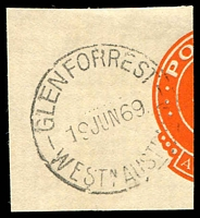 Lot 3444:Glen Forrest: - 'GLENFORREST/19JUN69/WESTN AUSTRALIA' (error; one word) on cut-out.  Renamed from Smiths Mill PO c.-/1/1916.