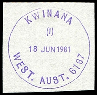 Lot 3491:Kwinana (2): - violet 'KWINANA/(1)/18JUN1981/WEST.AUST. 6167' (K33R-b-(1) - ERD) on piece.  Renamed from Calista PO 1/8/1974.
