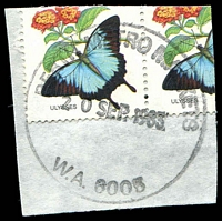Lot 3511:Metropolitan Markets: - 'PERTH METRO MARKETS/20SEP1983/W.A. 6005' (G37R-b) on 27c Butterfly pair (cut-to-shape through stamps).  PO 10/6/1929; closed c.-/6/1991.