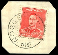 Lot 3545:Noggerup: - 'NOGGERUP/18MAR??/WEST[NAUSTRALIA]' (D27) on 2d red KGVI.  Renamed from Sexton's Mill RO c.-/3/1909; PO 1/5/1909; closed 31/1/1979.