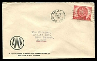 Lot 780:AWA cover with small logo franked with 2½d Mitchell, 3 Dec 1946 Relief D N.S.W. machine cancel.