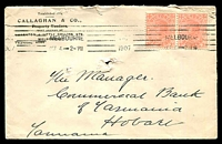 Lot 1102:Callaghan & Co, Property Vendors, Melbourne cover franked with 1d pink pair, 4 Oct 1907 Melbourne continuous machine cancel, addressed to Hobart (pin holes).