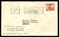Lot 794:H Gage Pty Ltd cover for Art Furniture Manufacturers, franked with 2½d Jamboree, 3 Feb 1949 Melbourne machine cancel.