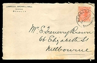 Lot 4612:Lambrock, Brown & Hall, Solicitors, Benalla cover franked with 1d pink, 1 Feb 1912 Benalla (B2) cancel, opened-out, ageing.