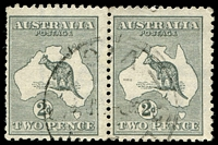 Lot 888:2d Grey Die I BW #7a horizontal pair with Wmk Inverted, several perfs at left trimmed, Cat $120, watermark line through left unit.