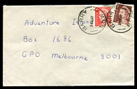 Lot 6510:Barry: - 2 strikes of 'BARRY/24OC67S/N.S.W.' on 1c brown & 4c red QEII on cover.  RO 10/5/1888; PO 1/10/1891; closed 5/6/1991.
