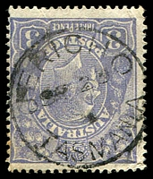 Lot 1811:Jericho (2): framed 'JERICHO/SP20/??/TASMANIA' on 3d blue KGV.  PO 20/9/1852; closed 31/8/1962.