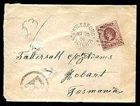 Lot 2003:173: unframed second duplex 'DAYLESFORD/MR25/01/VICTORIA - 173' on 5d brown on registered Tatts cover (pin holes) with 'R'-in-circle handstamp.  Allocated to Daylesford-PO 1/2/1858; LPO 1/5/1998.