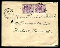 Lot 2668:Fish Creek: - WWW #10 3 strikes of unframed 'FISH CREEK/OC5/04/VICTORIA' on 2d violet pair on Tatts cover (pin hole).  PO 6/10/1890; LPO 18/3/1994.