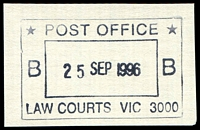 Lot 2800:Law Courts: - WWW #132 double-boxed 'POST OFFICE/B 25SEP1996 B/LAW COURTS VIC 3000'.  TO 29/10/1884; RH 12/1/1885; PO c.1902.