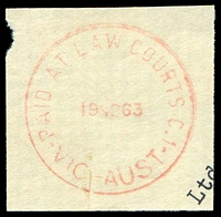 Lot 3167:Law Courts: - WWW #410A red 'PAID AT LAW COURTS C.1/19NO63/VIC-AUST'.  TO 29/10/1884; RH 12/1/1885; PO c.1902.