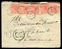Lot 15914:Market Street: - WWW #10 several strikes of unframed 'MARKET ST/FE7/05/MELBOURNE.W' on 1d pink x5 (two pairs) on registered Tatts cover (pin holes), large 'R'-in-circle handstamp.  Renamed from Customs House PO c.-/1/1884; replaced by Collins Street West PO 21/11/1997.