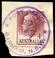 Lot 1332:Barham: - violet '* POST OFFICE */20/DEC/1957/BARHAM, N.S.W.' on 4d lake QEII.  PO 1/1/1895.