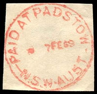 Lot 1418:Padstow: - 'PAID AT PADSTOW/??7FE6964/N.S.W-AUST' (time turned off).  Renamed from Padstow Park PO 1/11/1939.
