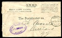 Lot 1446 [1 of 2]:Sydney: - violet double-oval 'MONEY ORDER OFFICE/31MAR1909/SYDNEY' on face of OHMS MONEY ORDER ADVICES cover sent to New Zealand, 'SYDNEY/31MR09-4.30.PM/17' cds also on face, small tape adhesions on back.  PO 25/4/1809.