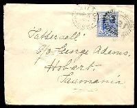 Lot 5561 [1 of 2]:331: rays (2R37) on 2d blue tied by framed 'HAMILTON/MR21/1901/N.S.W' (A2) on Tatt's cover (spike holes).  Allocated to Bore Hole-PO 12/5/1862; renamed Hamilton PO 1/8/1872.