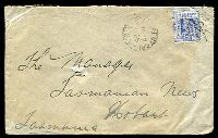 Lot 5965 [1 of 2]:462: '462' rays (3R16) on 2d blue tied by framed 'COLLARENEBRI/JA17/1905/N.S.W' (A2) on Tatt's cover (spike holes).  Allocated to Collarenebri-RO 16/8/1880; PO 1/10/1880.