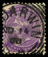 Lot 7468:Port Darwin: - 25mm squared-circle '[PT] DARWIN/NO14/00/S_A' on 2d violet.  Renamed from Palmerston PO c.1877; renamed Darwin PO 18/3/1911.