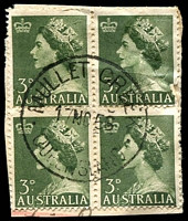 Lot 1206:Mullet Creek: - 'MULLET CREEK/17NO56/QUEENSLAND' on 3d green QEII block of 4. [Rated 2R]  Renamed from Littabella Creek RO c.1896; PO c.1924; closed 30/7/1974.