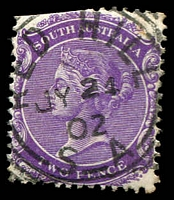 Lot 1335:Red Hill: - squared-circle 'RED HILL/JY24/02/S_A' on 2d violet.  Renamed from Broughton PO 1/4/1874; CMA 17/9/1993.