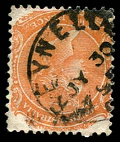 Lot 1337:Reynella: - framed 'REYNELLA/JY30/98/S[_A]' on 2d orange DLR P13.  PO 5/9/1856.