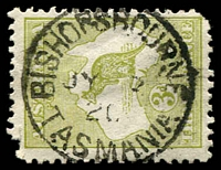 Lot 10812:Bishopsbourne: - framed 'BISHOPSBOURNE/JY??/20/TASMANIA' on 3d Roo (corner faults).  PO 31/12/1846; closed 30/11/1976.