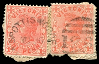 Lot 2131:1264: unframed duplex 'SPOTTISWOODE/NO16/0?/VIC[TORIA] - 126[4]' on 1d pink x2.  Allocated to Spottiswoode-PO 1/2/1882; renamed Spottiswood PO c.1903.