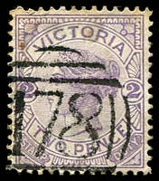 Lot 10512:178: 1st type on 2d violet.  Allocated to Sunbury-PO 13/1/1858.