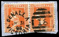Lot 2117:18: 2nd unframed duplex 'BENALLA/JY31/95/VICTORIA - 18' on 1d brown pair.  Allocated to Benalla-Renamed from Broken River PO 1/1/1854.